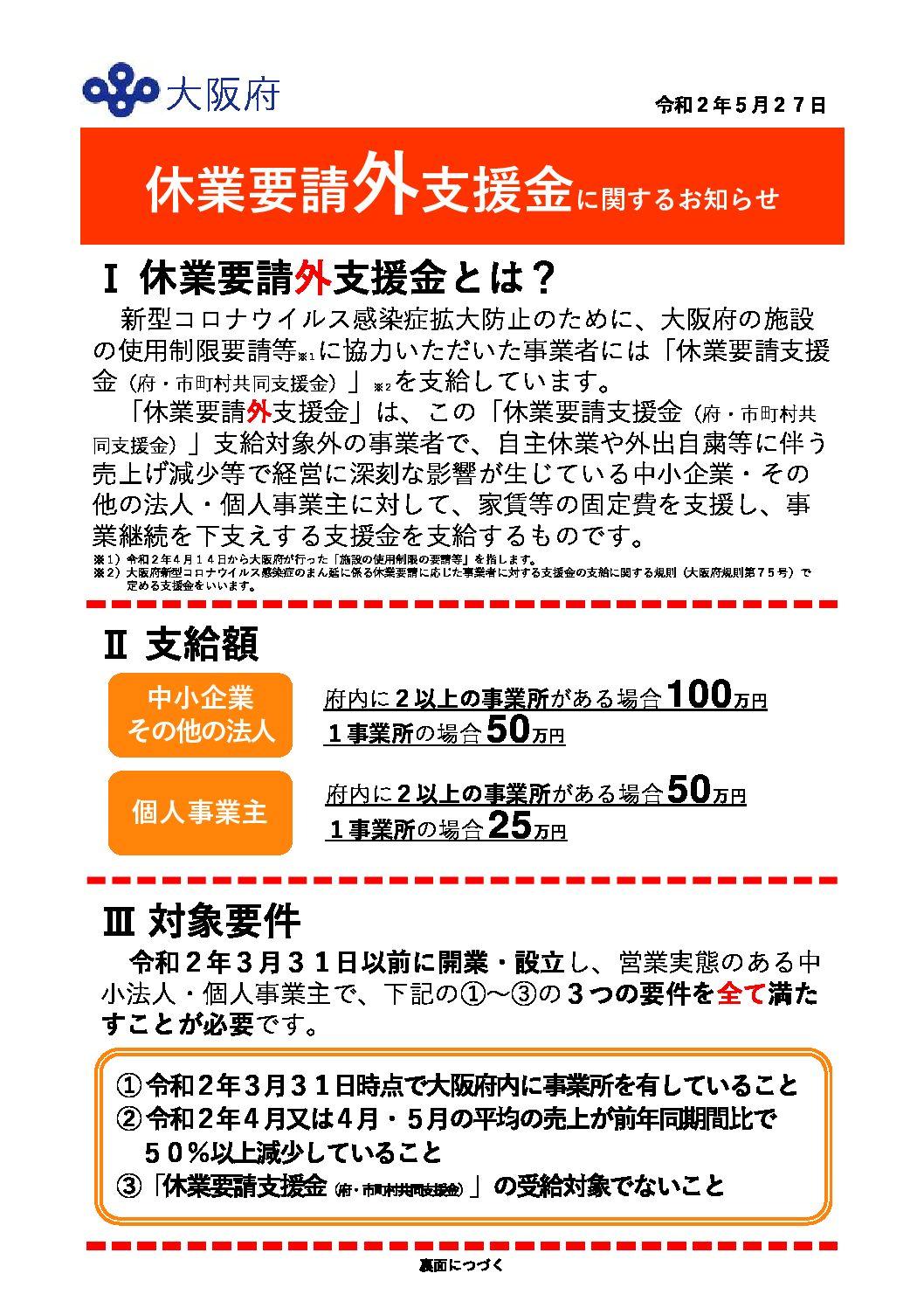 大阪 給付 金 家賃 支援